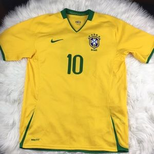 Nike Brazil Soccer Jersey #10 Noriega Yellow Green